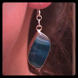 💖SALE💖.Lovely Blue Agate Pierced Dangle Earrings